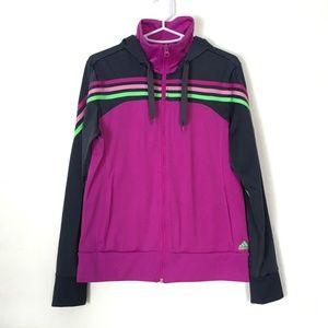 Adidas Hoodie Climalite Jacket Purple 3-Stripes M